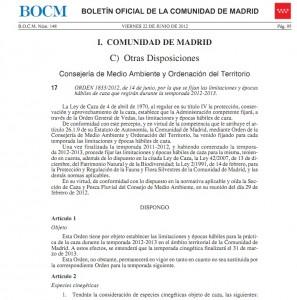 orden vedas Madrid 2012-2013