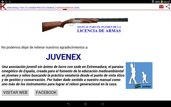 aplicación sobre examen de armas