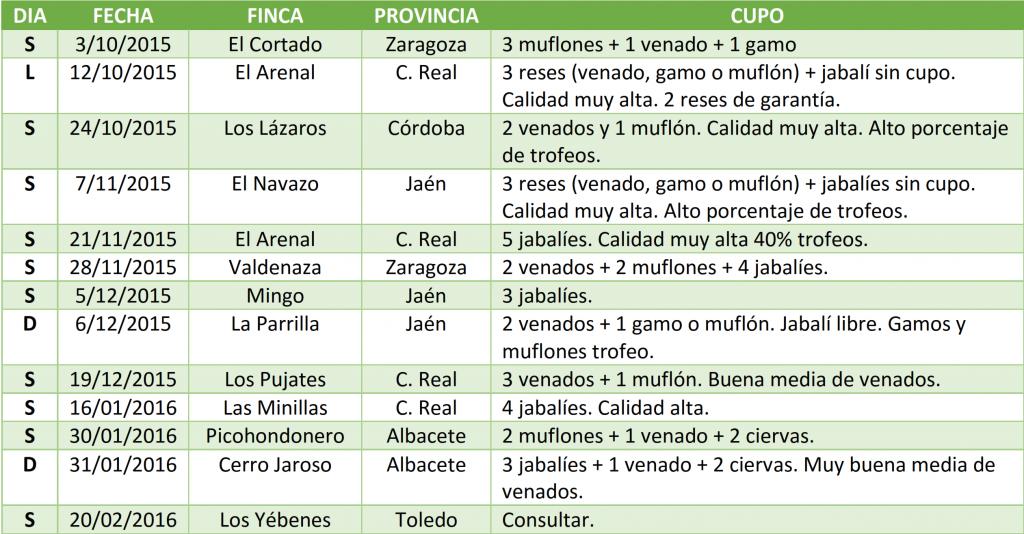 Calendario de Monterias Gescaza 2015-2016