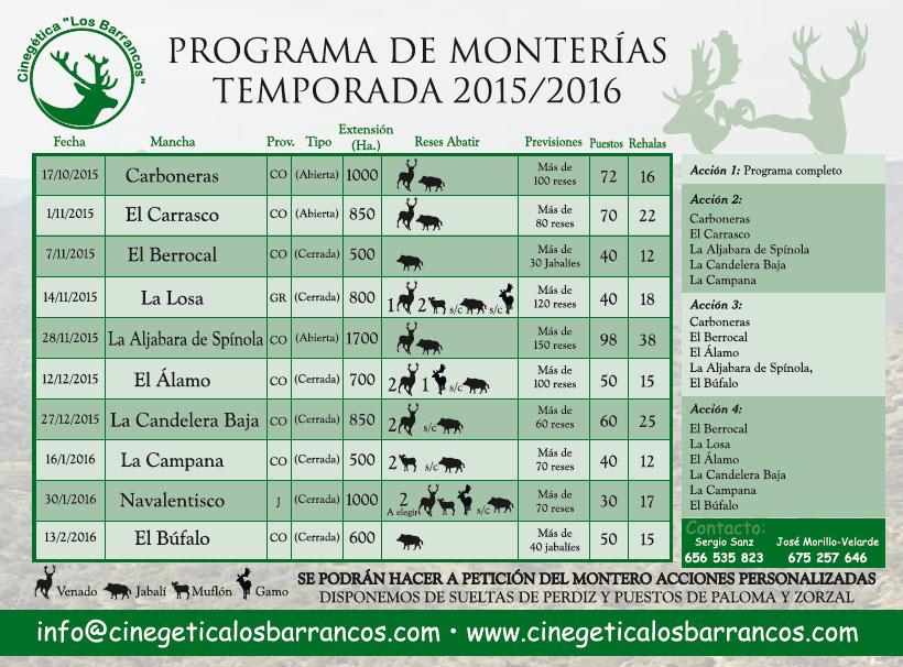 Calendario de montería de Cinegética Los Barrancos para la temporada de caza 2015/2016.