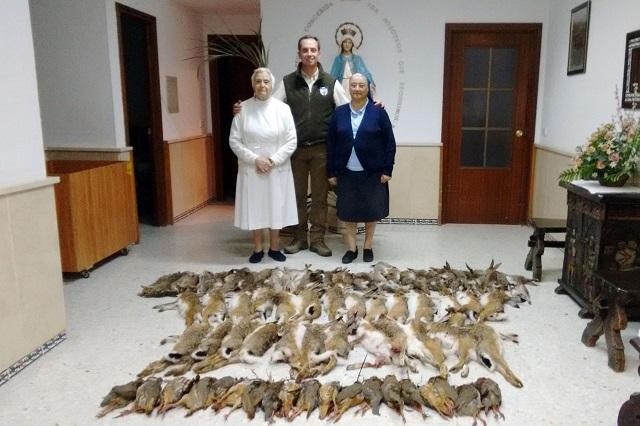Las piezas abatidas en el Campeonato de Caza Menor con Perro de Extremadura donadas.