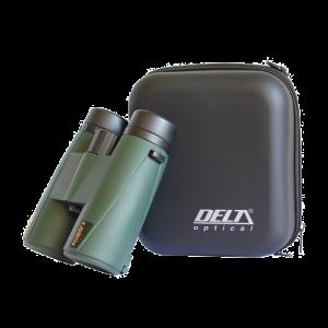 Prismáticos Delta Forest y la funda que el fabricante incorpora con el producto.
