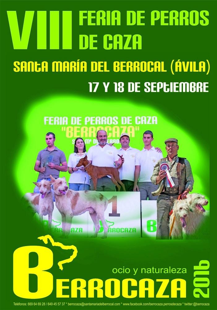 Cartel de la feria Berrocaza 2016, feria de perros de caza se Santa María del Berrocal.
