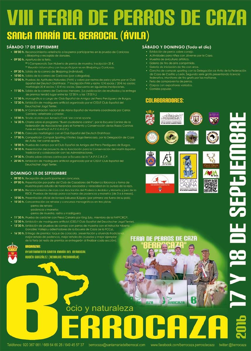 Programa de actividades de Berrocaza, feria de perros de caza.