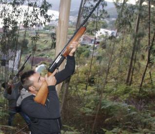Cazadores disparando contra los nidos de avispa velutina, como medida experimental para combatir esta especie.