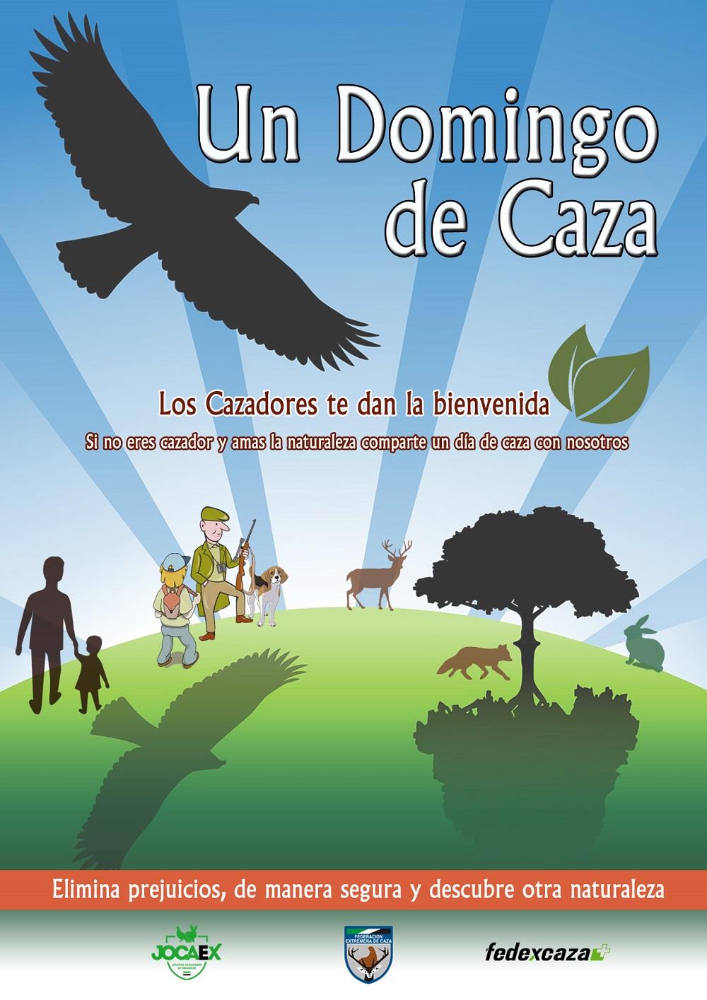 """Cartel del proyecto """"Un Domingo de Caza"""" de la Federación Extremeña de Caza."""