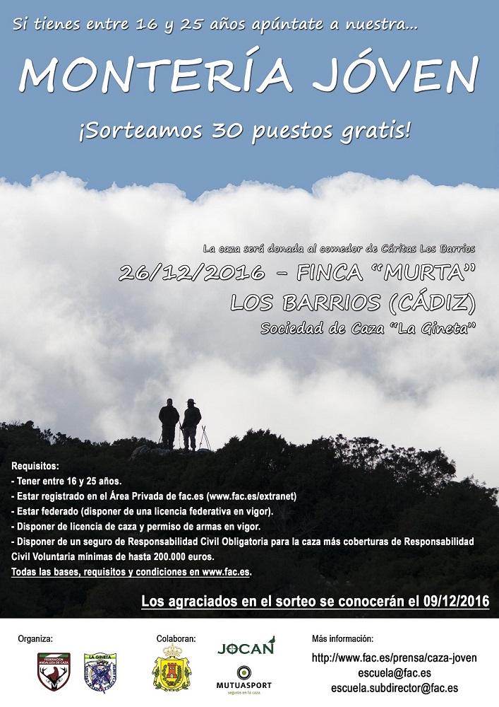 Cartel de la I montería joven de la federación andaluza de caza.