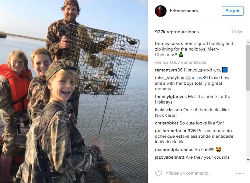 Los hijos de Britney Spears disfrutan cazando durante sus vacaciones de navidad.
