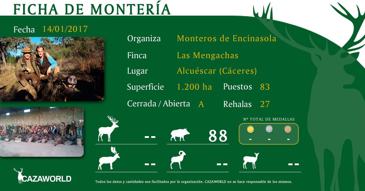 Ficha de montería con los resultados de Las Mengachas de Monteros de Encinasola.