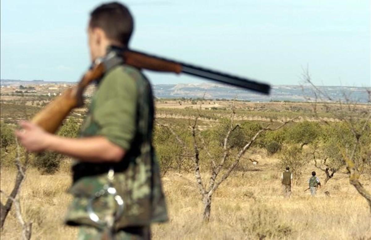 Imagen de un cazador con la escopeta al hombro en el coto de caza de Aspa (Segrià). / Ramón Gabriel - Defoto
