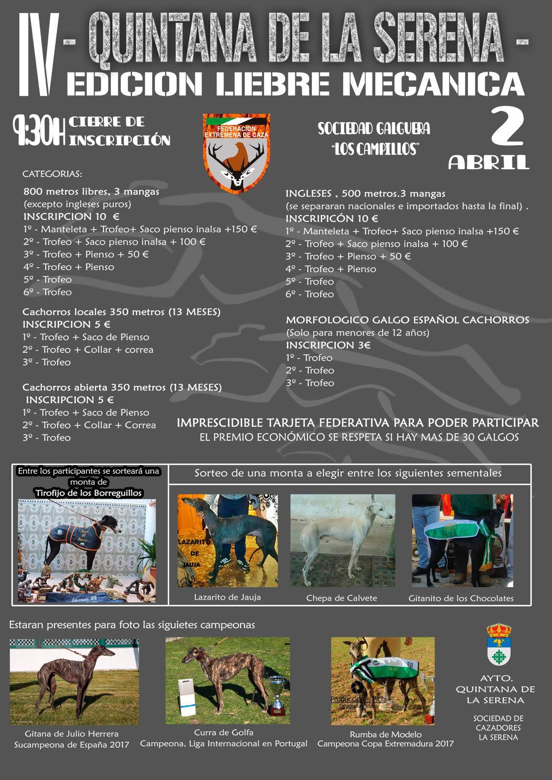 Cartel del Campeonato de Galgo con Liebre Mecánica de Extremadura.