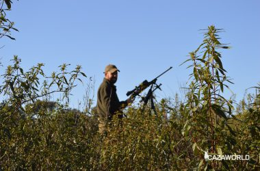 Cazador en una postura de montería con su rifle de cerrojo y su trípode.