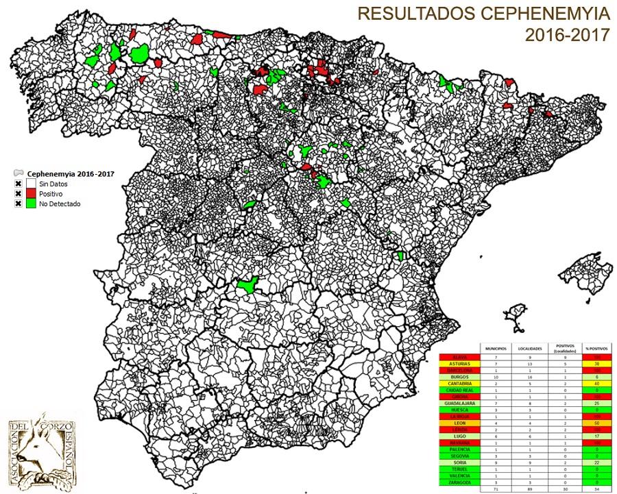 Mapa de incidencia de Cephenemyia stimulator en corzos.
