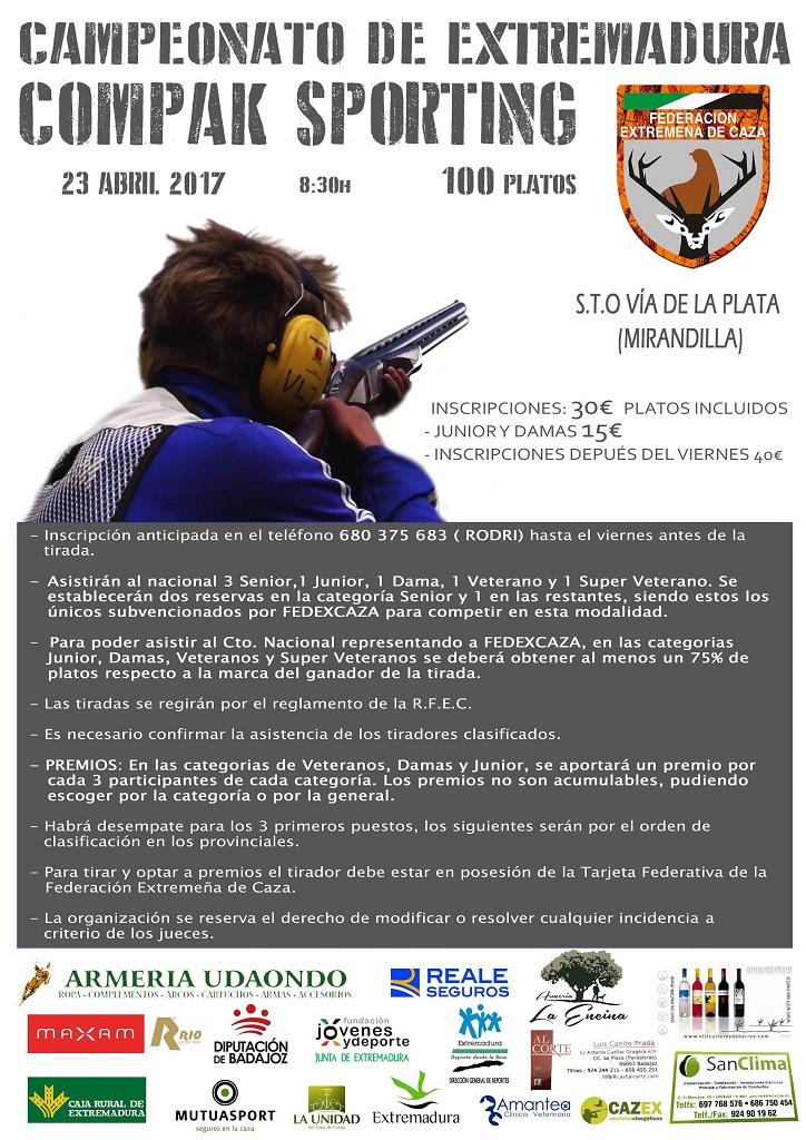 Cartel del Campeonato de Extremadura de Compak Sporting celebrado en Mirandilla.