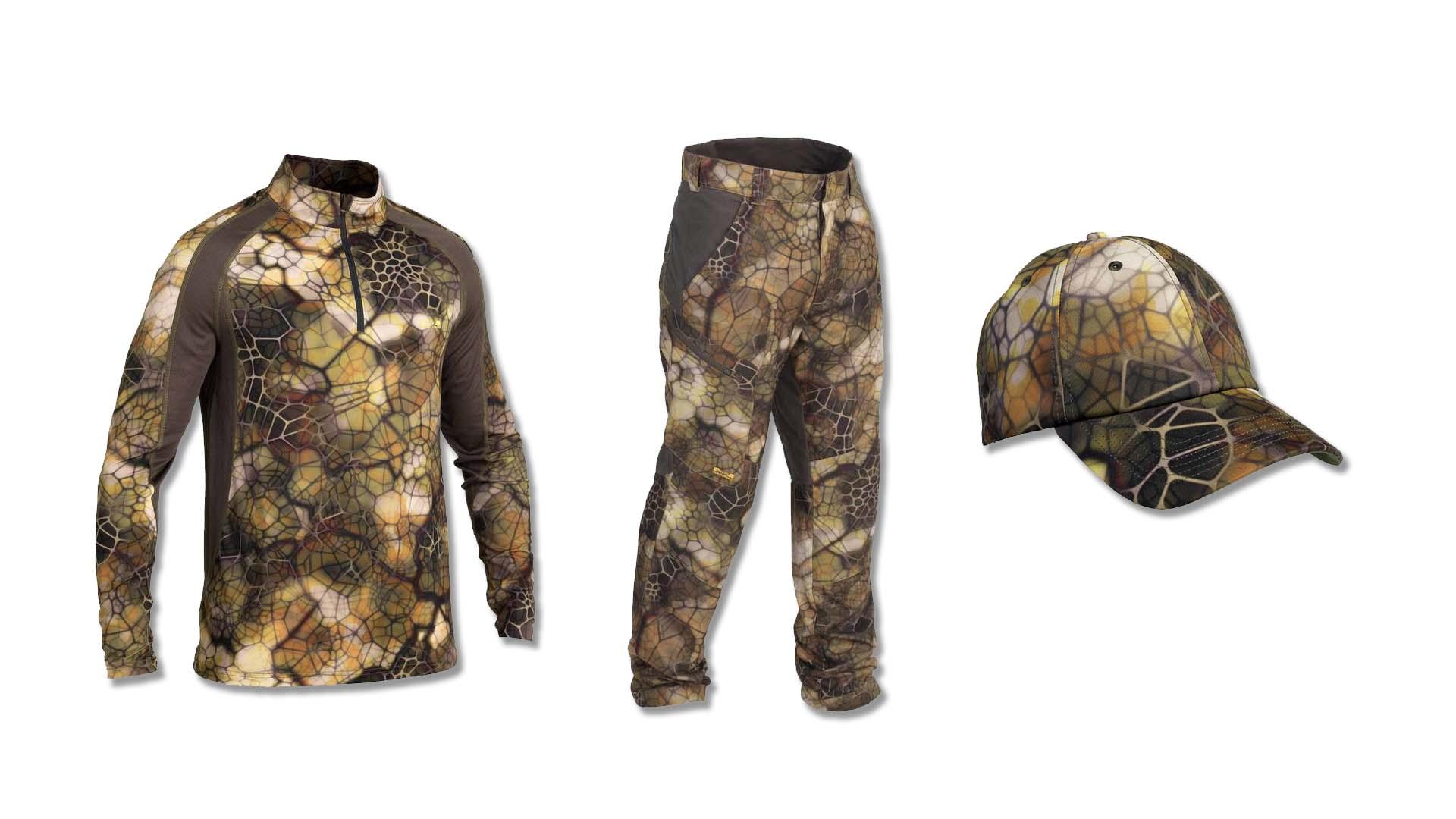 Pantalón, camiseta y gorra de camuflaje 3d de Decathlon para la caza del corzo.