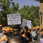 Pancartas y carteles mostrados por los cazadores en la manifestación de Ática.
