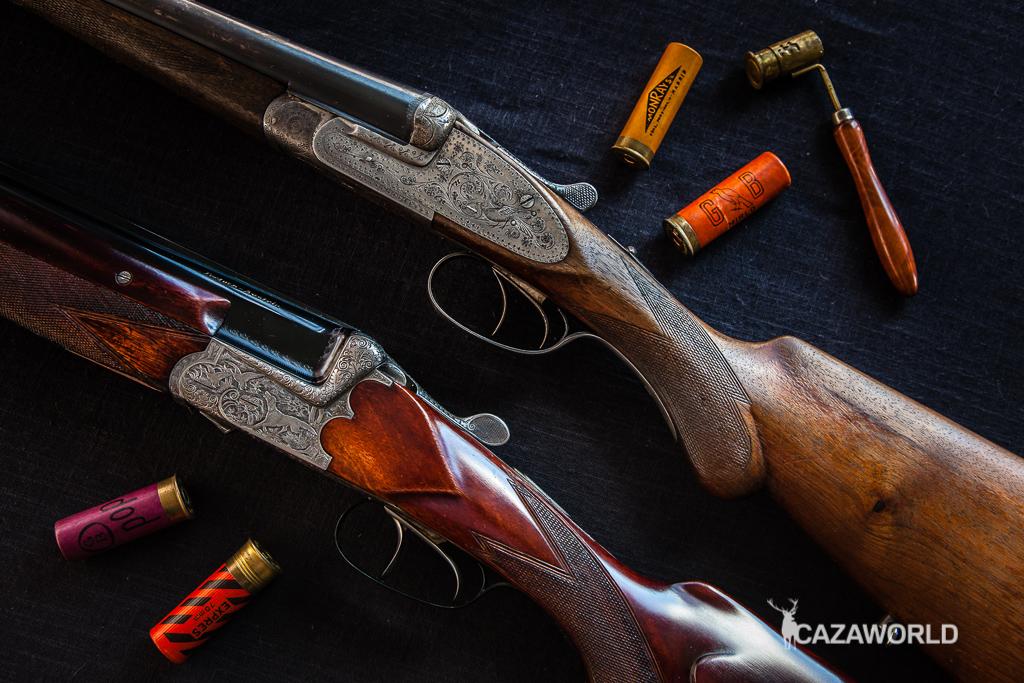 Comprar escopetas de segunda mano, en la imagen, una superpuesta y una paralela.