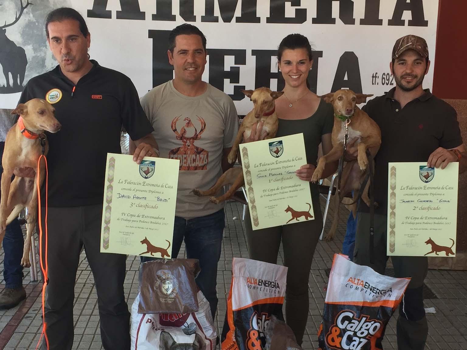 Ganadores de la V Copa de Extremadura de Trabajo con Podenco Andaluz.
