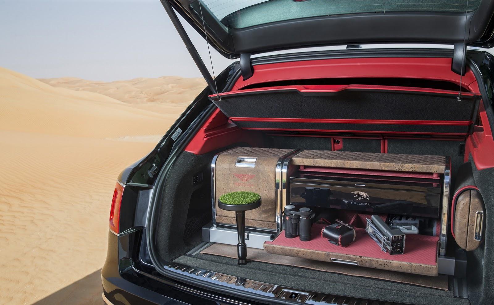 El maletero del Bentley Bentayga Falconry viene equipado para transportar aves de cetreria.