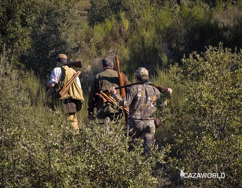 Cazadores dirigiéndose hacia los puestos de caza con sus escopetas / DPS