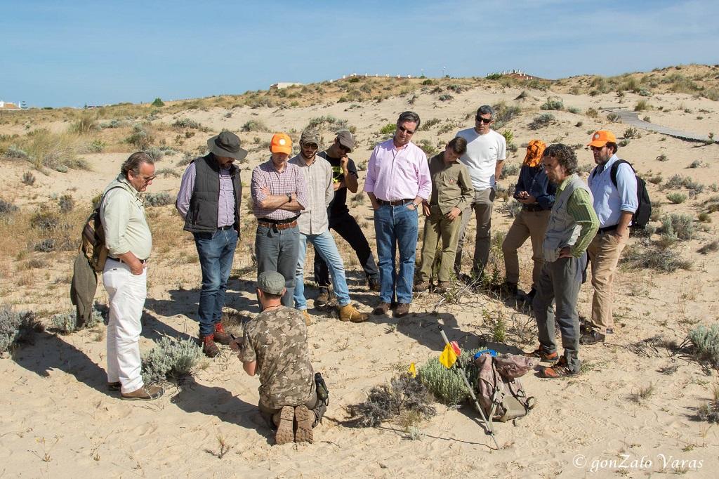 Explicaciones durante el Curso práctico de seguimiento de huellas en Doñana de la Aepes.