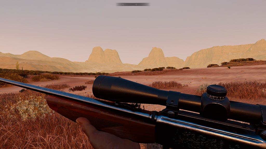 Cazando con rifle y visor en el juego Hunting Simulator.