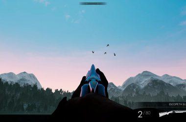 Cazando patos con una escopeta superpuesta en el juego Hunting Simulator.