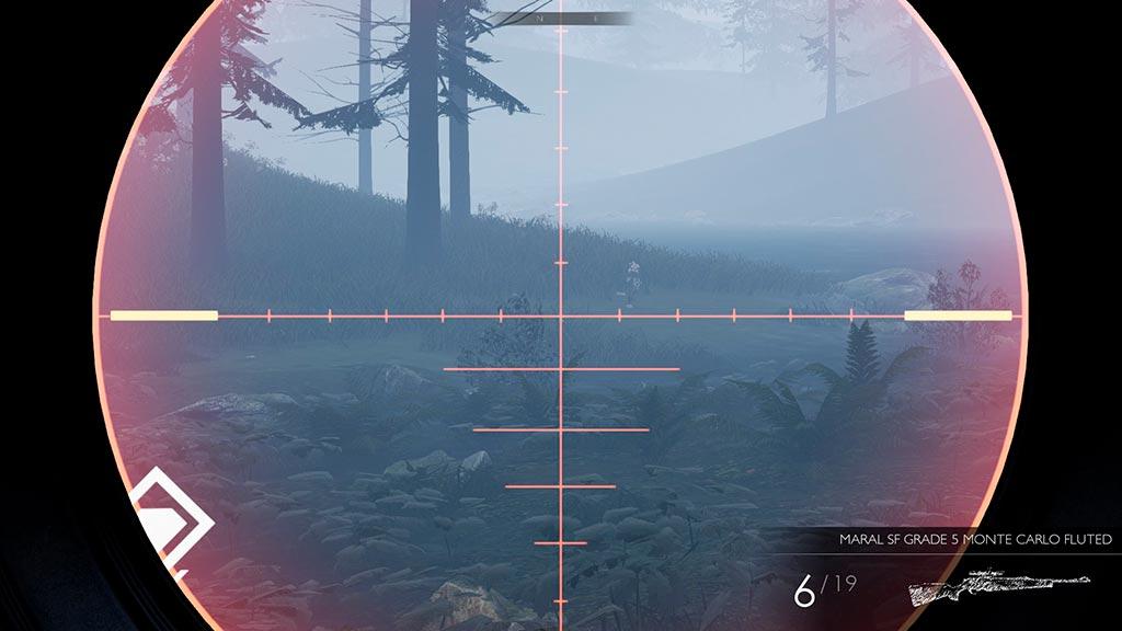 Mira telescópica del juego Hunting Simulator.