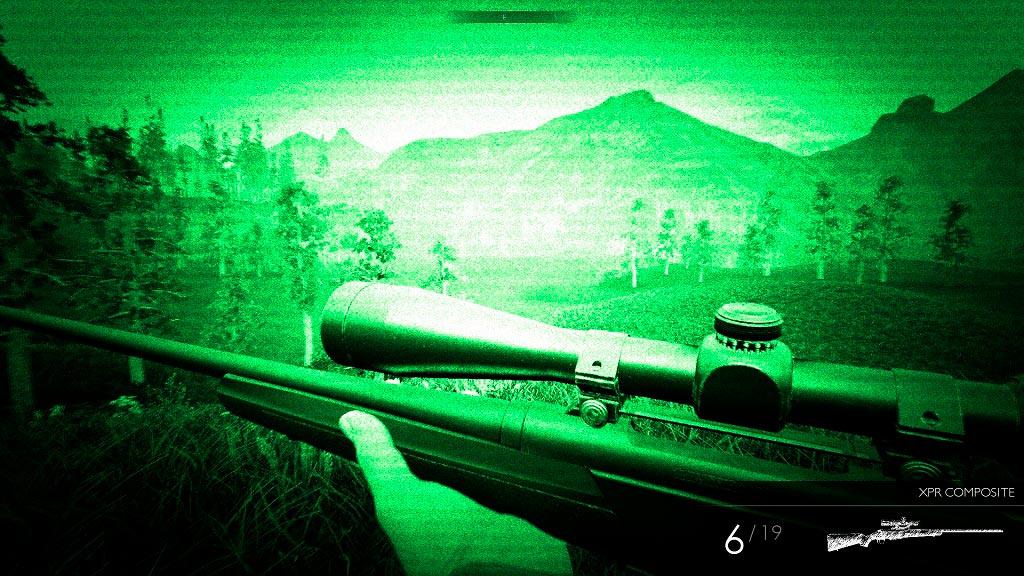 Hunting Simulator te permite cazar con visión nocturna.