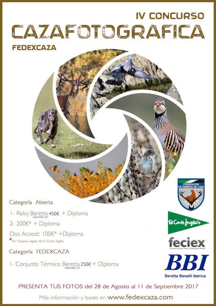 Cartel del concurso de fotografía #Cazafotográfica de la federación extremeña.