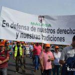 """Representantes de la federación andaluza llegados de Málaga: """"En defensa de nuestros derechos y nuestras tradiciones""""."""