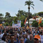 Miles de manifestantes pidiendo respeto para el mundo rural hoy en Córdoba.
