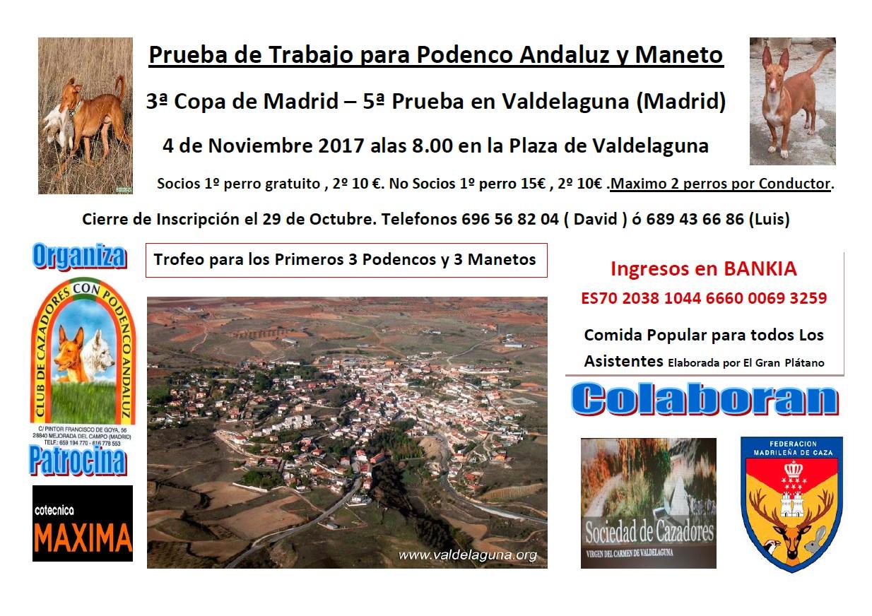 Cartel de la 3ª Copa de Madrid para Podenco Andaluz y Maneto.