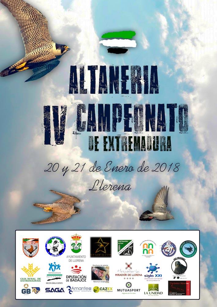 Cartel del IV Campeonato de Extremadura de Altaneria celebrado los días 20 y 21 de enero en Llerena.