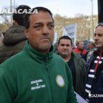 Eloy Calderón, un aficionado a la caza menor con podemcos en la concentración del 15A en Madrid.