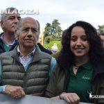 Teófilo de Luis (Partido Popular) y Raquel del Amo, vicepresidenta de Jocama durante la concentración en Madrid,