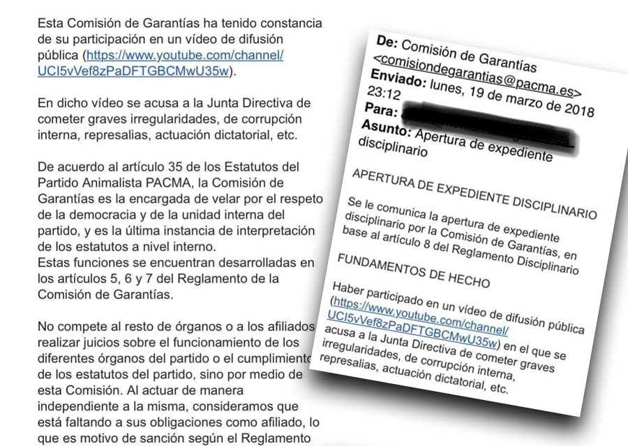 Expediente sancionador a afiliado de Pacma por discrepar