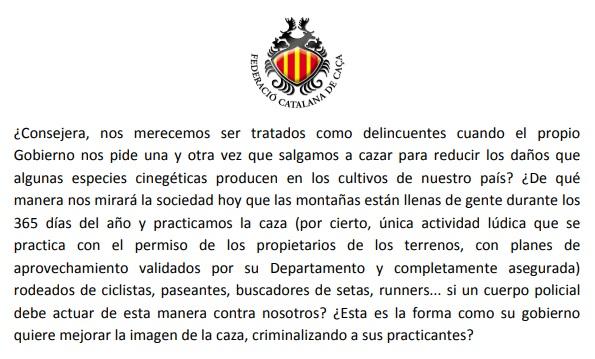 Escrito del presidente de la Federación Catalana de Caza sobre el vídeo de los agentes rurales