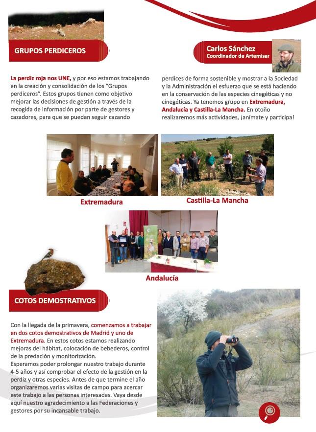 Grupos perdices y cotos demostrativos del proyecto RUFA.