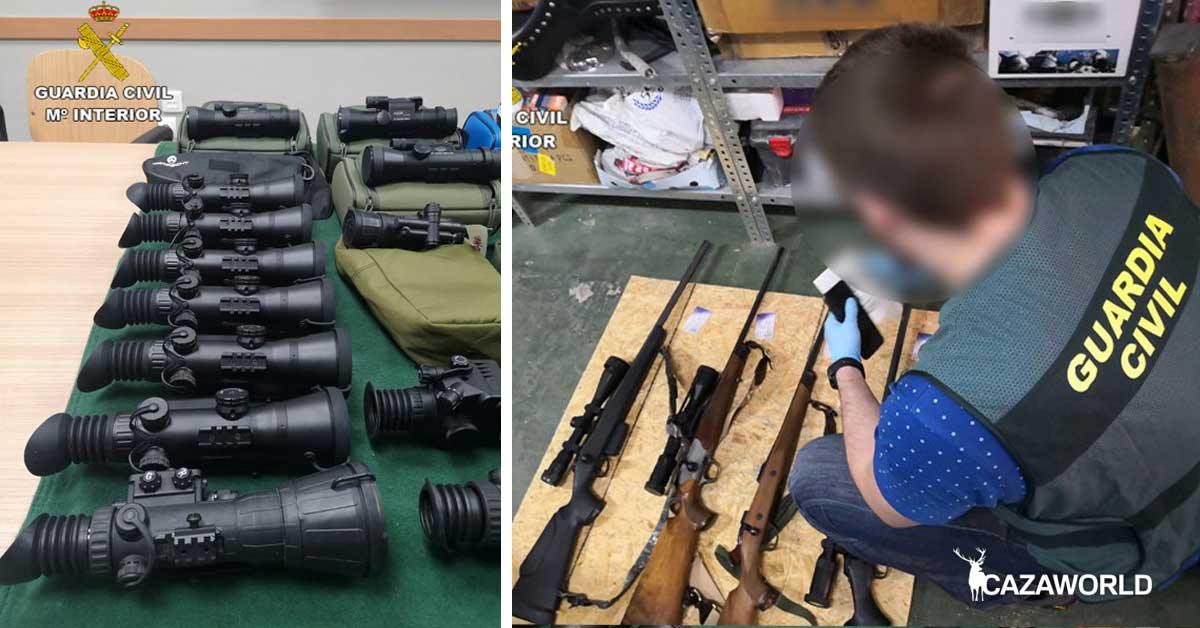 La Guardia Civil y la Policía Alemana intervienen equipos de visión térmica y nocturna por valor de 900.000€. Fotografía de los equipos.