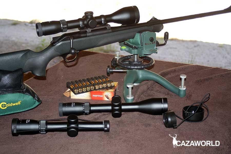 Visor Mittens montado en rifle para prueba de tiro