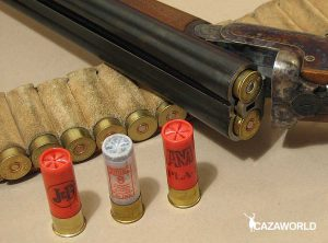 Escopeta y cartuchos del calibre 16