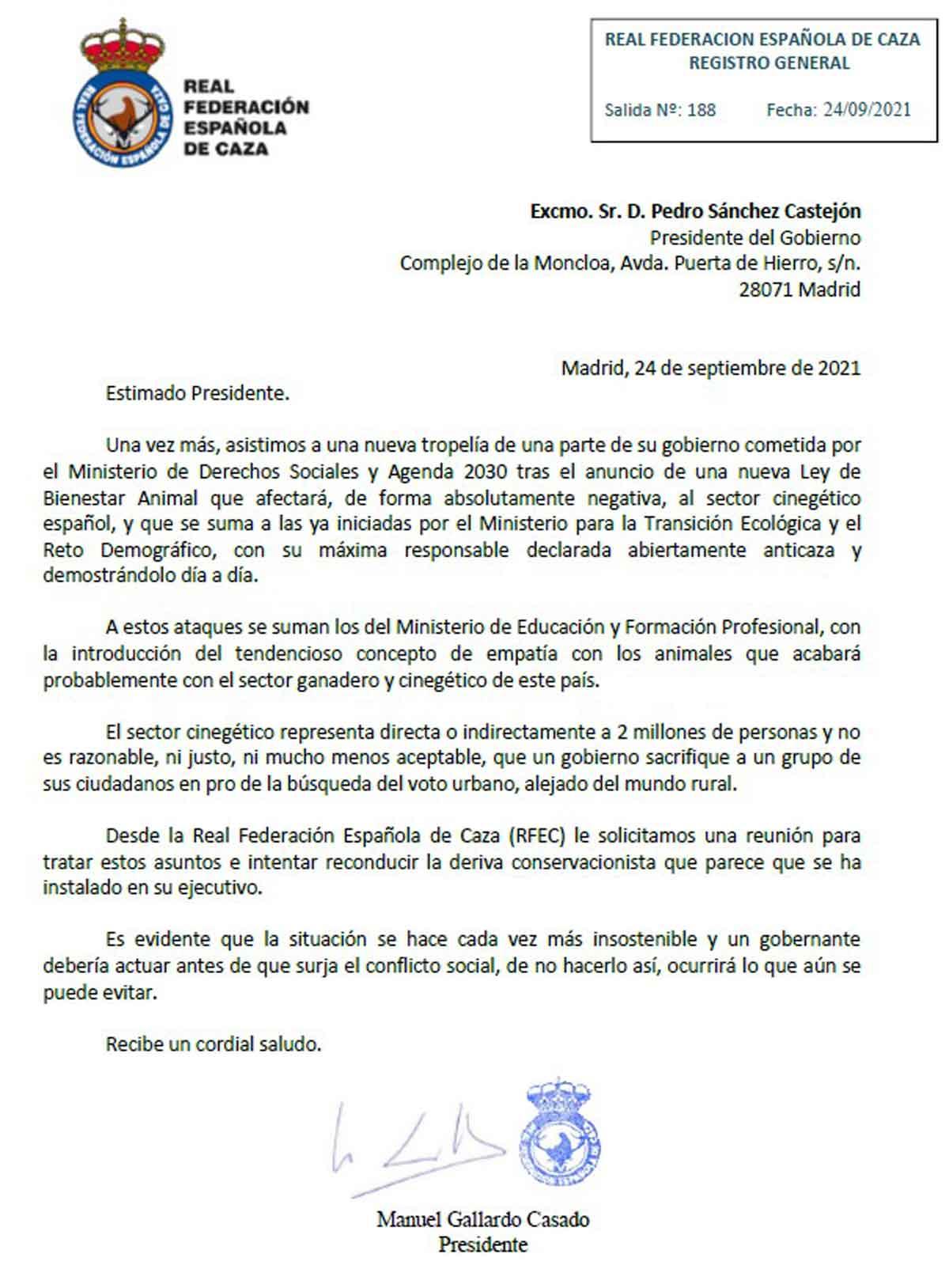 carta RFEC a Pedro Sánchez